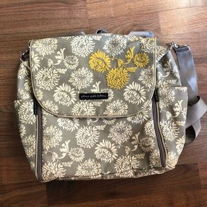 Petunia Pickle Bottom Gray Yellow Floral Bookbag